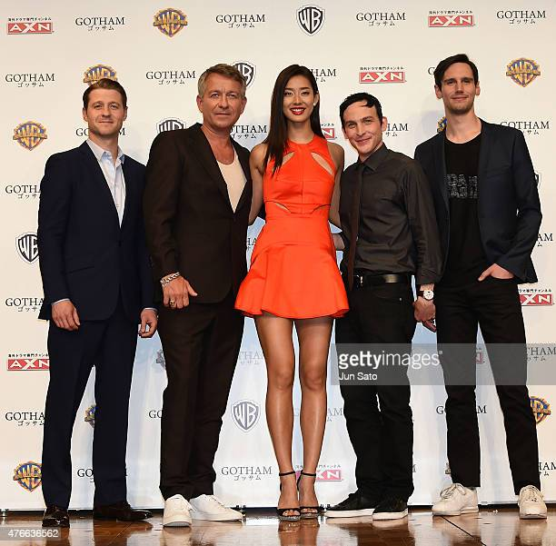 Actors Ben McKenzie Sean Pertwee Sumire Robin Lord Taylor and Cory Michael Smith attend the press conference for 'Gotham' at The RitzCarlton Tokyo on...