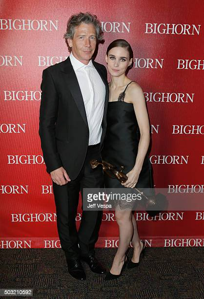 Actors Ben Mendelsohn and Rooney Mara pose with the Spotlight Award Actress during the 27th Annual Palm Springs International Film Festival Awards...