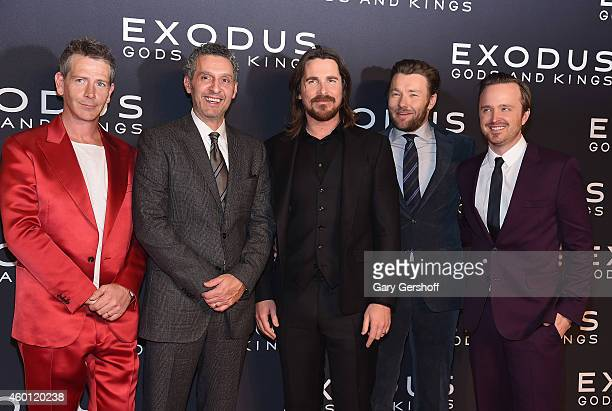 Actors Ben Mendelsohn John Turturro Christian Bale Joel Edgerton and Aaron Paul attend the 'Exodus Gods And Kings' New York Premiere at Brooklyn...