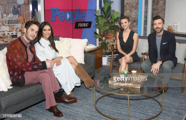 Actors Ben Platt Nina Dobrev hosts Andrea Boehlke and Jeremy Parsons on the set of People TV on March 05 2020 in New York City