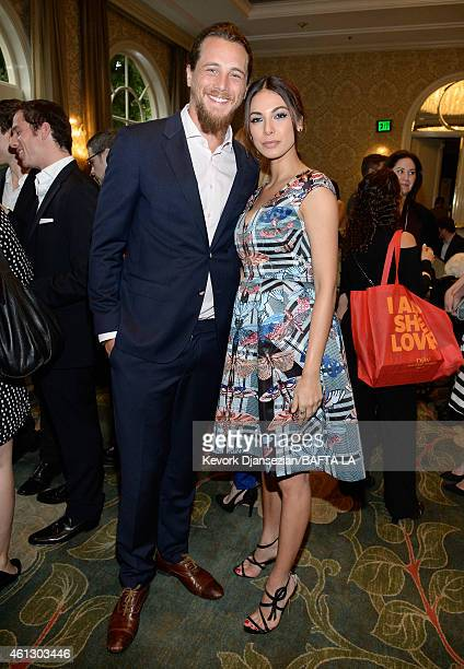 Actors Ben Robson and Moran Atias attend the 2015 BAFTA Tea Party at The Four Seasons Hotel Los Angeles At Beverly Hills on January 10 2015 in Los...