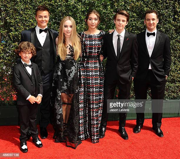 Actors Ben Savage August Maturo Rowan Blanchard Peyton Meyer Sabrina Carpenter and Corey Fogelmanis attend the 2015 Creative Arts Emmy Awards at...