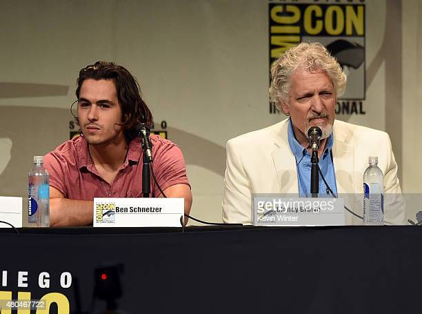 Actors Ben Schnetzer and Clancy Brown from 'Warcraft' speaks onstage at the Legendary Pictures panel during ComicCon International 2015 the at the...