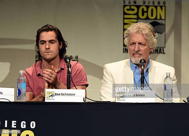 Actors Ben Schnetzer and Clancy Brown speak onstage at the Legendary Pictures panel during ComicCon International 2015 the at the San Diego...