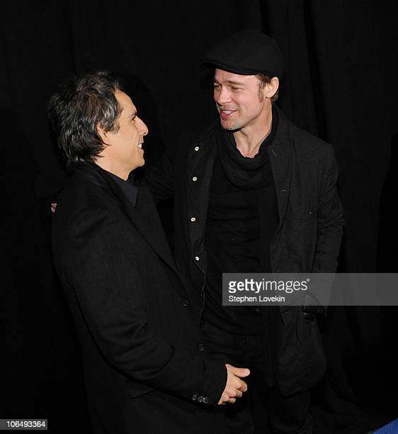 """Actors Ben Stiller and Brad Pitt attend the New York premiere of """"Megamind"""" at AMC Lincoln Square Theater on November 3, 2010 in New York City."""