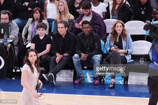 Actors Ben Stiller and Chris Rock attend the game between the Milwaukee Bucks and the New York Knicks at Madison Square Garden on April 7 2018 in New...