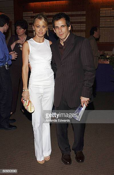 Actors Ben Stiller and Christine Taylor attend the 15th Anniversary of the Los Angeles Chamber Orchestra's Silent Film Festival on June 5 2004 at...