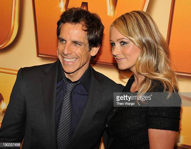 Actors Ben Stiller and Christine Taylor attend the world premiere of Tower Heist at the Ziegfeld Theatre on October 24 2011 in New York City