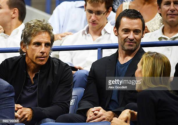 Actors Ben Stiller and Hugh Jackman attend the Men's Singles Quarterfinals match between Novak Djokovic of Serbia and JoWilfried Tsonga of France on...