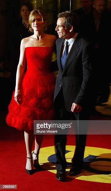 Actors Ben Stiller and Jennifer Aniston arrive at the UK Premiere of 'Along Came Polly' at the Empire Leicester Square on February 18 2004 in London