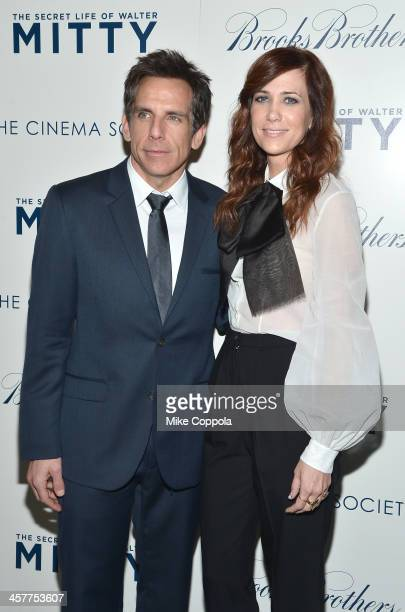 """Actors Ben Stiller and Kristen Wiig attend the """"The Secret Life Of Walter Mitty"""" screening hosted by 20th Century Fox with The Cinema Society and..."""