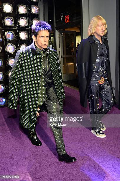 Actors Ben Stiller and Owen Wilson attends the Zoolander 2 World Premiere at Alice Tully Hall on February 9 2016 in New York City