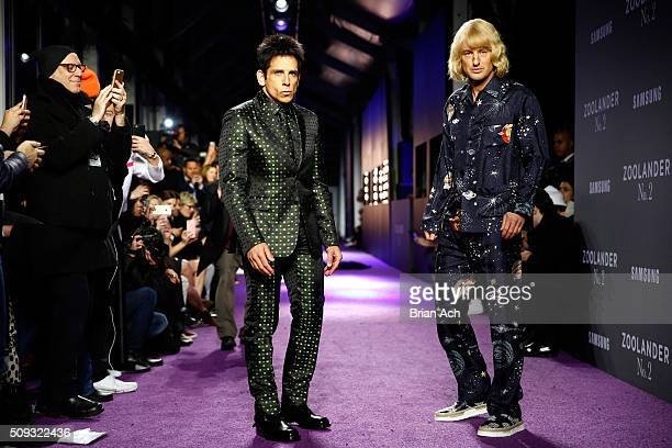 Actors Ben Stiller and Owen Wilson walk the runway during the Zoolander No 2 World Premiere at Alice Tully Hall on February 9 2016 in New York City
