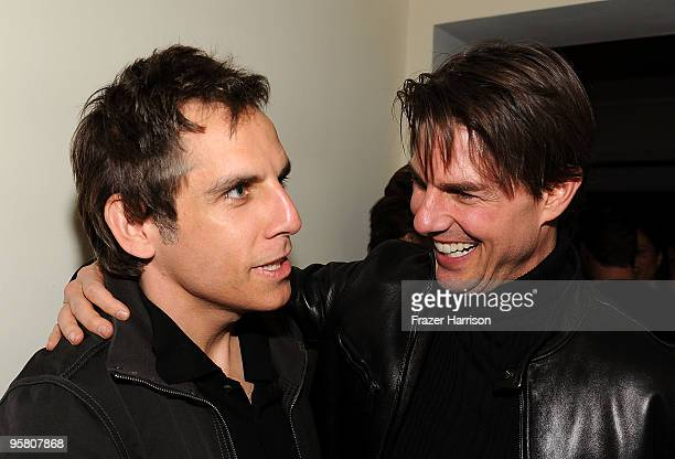Actors Ben Stiller and Tom Cruise attend the Golden Globes party hosted by T Magazine and Dom Perignon at Chateau Marmont on January 15 2010 in Los...