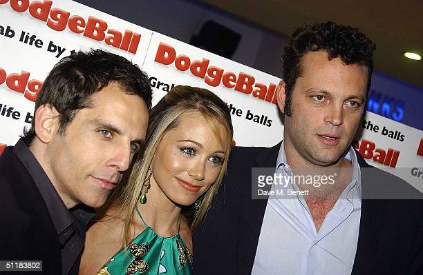 Actors Ben Stiller Christine Taylor and Vince Vaughn arrive at the UK Premiere of 'Dodgeball A True Underdog Story' at the Odeon Kensington on August...