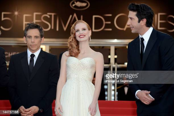 Actors Ben Stiller David Schwimmer and Jessica Chastain attend the Madagascar 3 Europe's Most Wanted Premiere during the 65th Annual Cannes Film...