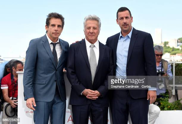 Actors Ben Stiller Dustin Hoffman and Adam Sandler attend The Meyerowitz Stories photocall during the 70th annual Cannes Film Festival at Palais des...