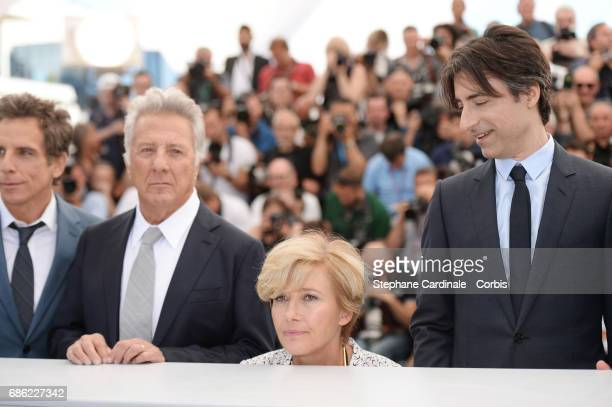 Actors Ben Stiller Dustin Hoffman Emma Thompson and director Noah Baumbach attend the The Meyerowitz Stories photocall during the 70th annual Cannes...