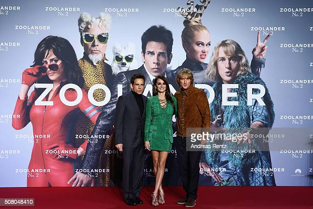 Actors Ben Stiller Penelope Cruz and Owen Wilson attend the Berlin fan screening of the Paramount Pictures film 'Zoolander No 2' at CineStar on...