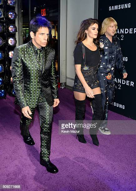 Actors Ben Stiller Penelope Cruz and Owen Wilson attend the Zoolander 2 World Premiere at Alice Tully Hall on February 9 2016 in New York City