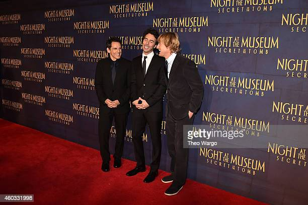 "Actors Ben Stiller, Shawn Levy and Owen Wilson attend the ""Night At The Museum: Secret Of The Tomb"" New York Premiere at Ziegfeld Theater on December..."