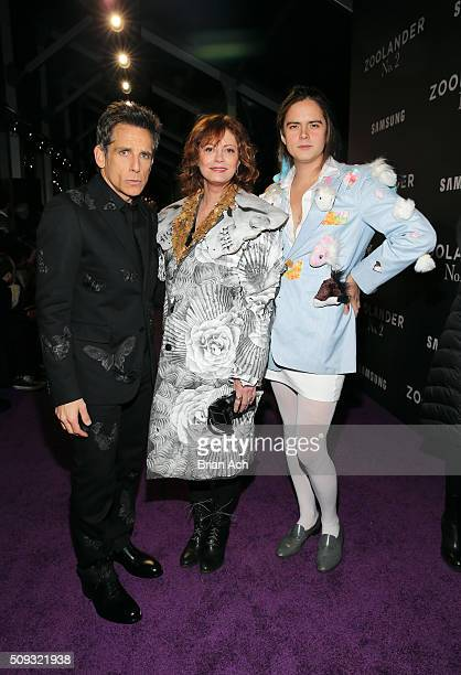 Actors Ben Stiller Susan Sarandon and Miles Robbins attend the 'Zoolander No 2' World Premiere at Alice Tully Hall on February 9 2016 in New York City
