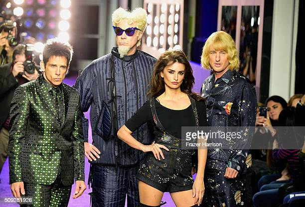 Actors Ben Stiller Will Ferrell Penelope Cruz and Owen Wilson walk the runway during the 'Zoolander No 2' World Premiere at Alice Tully Hall on...