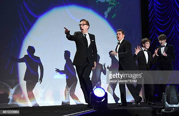Actors Benedict Cumberbatch Allen Leech Alex Lawther and Matthew Beard accept the Ensemble Performance Award onstage during the 26th Annual Palm...