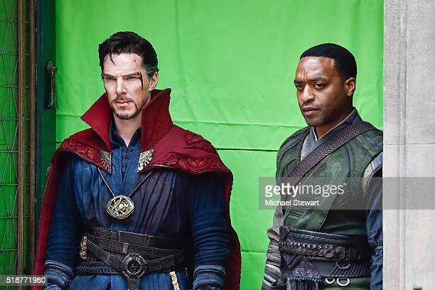 Actors Benedict Cumberbatch and Chiwetel Ejiofor are seen filming Doctor Strange on location on April 2 2016 in New York City