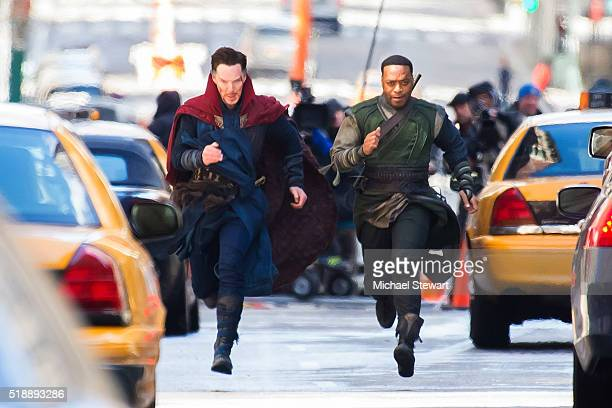 Actors Benedict Cumberbatch and Chiwetel Ejiofor are seen filming Doctor Strange on April 3 2016 in New York City