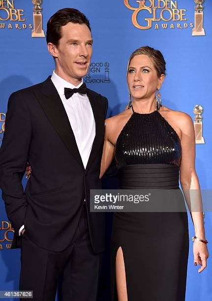 Actors Benedict Cumberbatch and Jennifer Aniston pose in the press room during the 72nd Annual Golden Globe Awards at The Beverly Hilton Hotel on...
