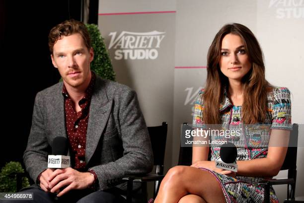 Actors Benedict Cumberbatch and Keira Knightley attend the Variety Studio presented by Moroccanoil at Holt Renfrew during the 2014 Toronto...
