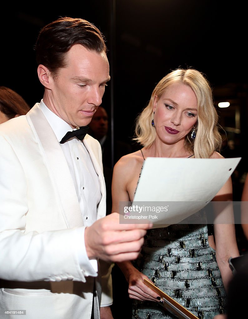 Actors Benedict Cumberbatch and Naomi Watts backstage during the 87th Annual Academy Awards at Dolby Theatre on February 22, 2015 in Hollywood, California.