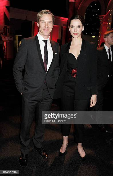 Actors Benedict Cumberbatch and Rebecca Hall arrive at the Moet British Independent Film Awards 2011 at Old Billingsgate Market on December 4 2011 in...