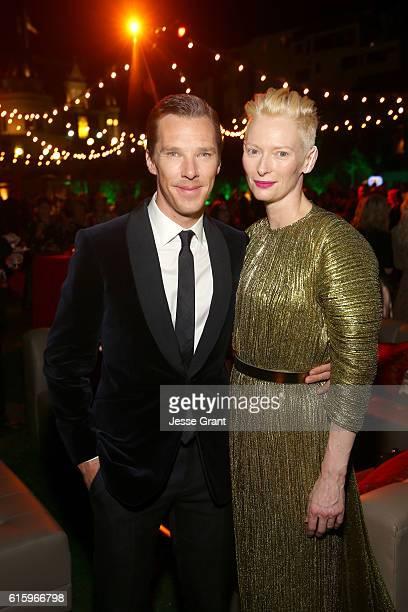 "Actors Benedict Cumberbatch and Tilda Swinton wearing Haider Ackermann attend The Los Angeles World Premiere of Marvel Studios' 'Doctor Strange"" in..."
