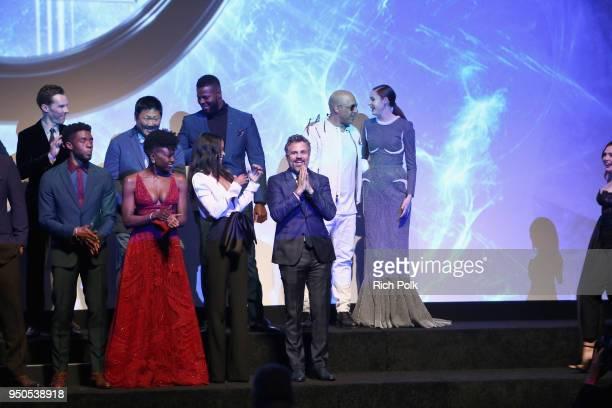 Actors Benedict Cumberbatch Chadwick Boseman Benedict Wong Danai Gurira Zoe Saldana Winston Duke Mark Ruffalo Vin Diesel and Karen Gillan onstage at...