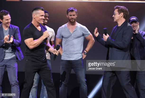 Actors Benedict Cumberbatch Josh Brolin Chadwick Boseman Chris Hemsworth and Robert Downey Jr and producer Kevin Feige of AVENGERS INFINITY WAR took...
