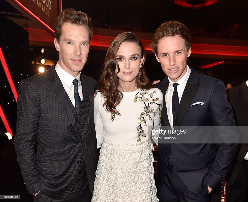 Actors Benedict Cumberbatch, Keira Knightley and Eddie Redmayne attend the 18th Annual Hollywood Film Awards at The Palladium on November 14, 2014 in Hollywood, California.