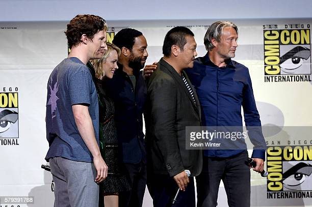 Actors Benedict Cumberbatch Rachel McAdams Chiwetel Ejiofor Benedict Wong and Mads Mikkelsen attend the Marvel Studios presentation during ComicCon...