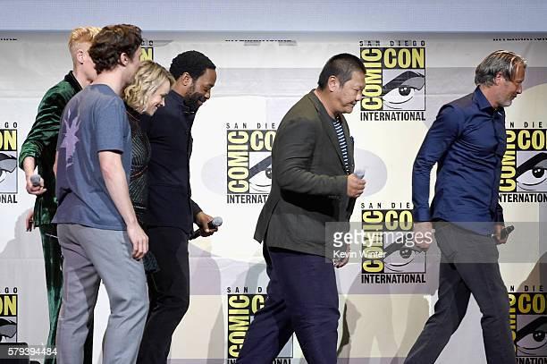 Actors Benedict Cumberbatch Tilda Swinton Rachel McAdams Chiwetel Ejiofor Benedict Wong and Mads Mikkelsen attend the Marvel Studios presentation...