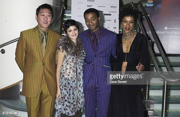 Actors Benedict Wong Audrey Tautou Chiwetel Ejiofor and Sophie Okonedo at The London Film Festival Gala Opening with the film 'Dirty Pretty Things'...