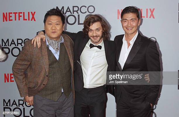 Actors Benedict Wong Lorenzo Richelmy and Rick Yune attend the Marco Polo New York series premiere at AMC Lincoln Square Theater on December 2 2014...