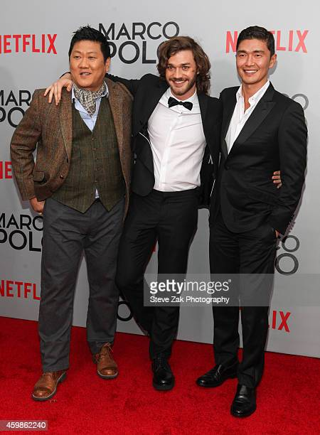 Actors Benedict Wong Lorenzo Richelmy and Rick Yune attend the 'Marco Polo' New York series premiere at AMC Lincoln Square Theater on December 2 2014...