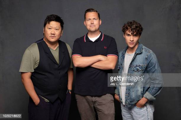 Actors Benedict Wong Rick Remender and Benjamin Wadsworth from 'Deadly Class' are photographed for Los Angeles Times on July 21 2018 in San Diego...