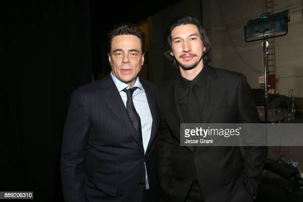 Actors Benicio del Toro and Adam Driver at the world premiere of Lucasfilm's Star Wars The Last Jedi at The Shrine Auditorium on December 9 2017 in...