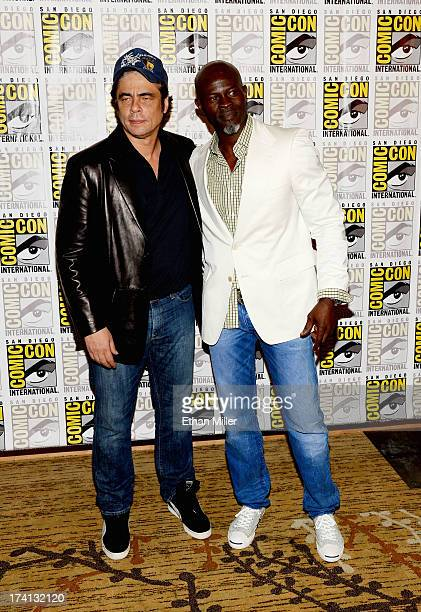 Actors Benicio Del Toro and Djimon Hounsou attend Marvel's 'Guardians of The Galaxy' press line during ComicCon International 2013 at the Hilton San...