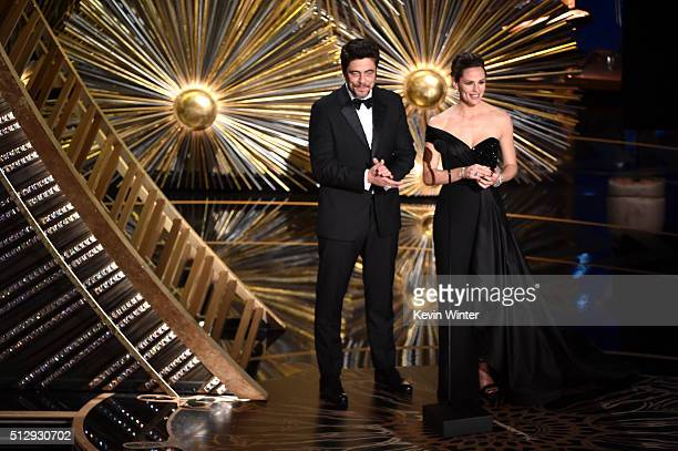 Actors Benicio del Toro and Jennifer Garner speak onstage during the 88th Annual Academy Awards at the Dolby Theatre on February 28 2016 in Hollywood...