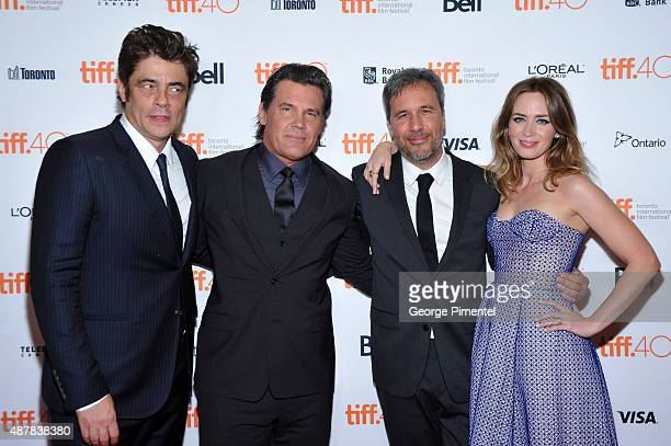 "Actors Benicio Del Toro and Josh Brolin, director Denis Villeneuve and actress Emily Blunt attend the ""Sicario"" premiere during the 2015 Toronto..."