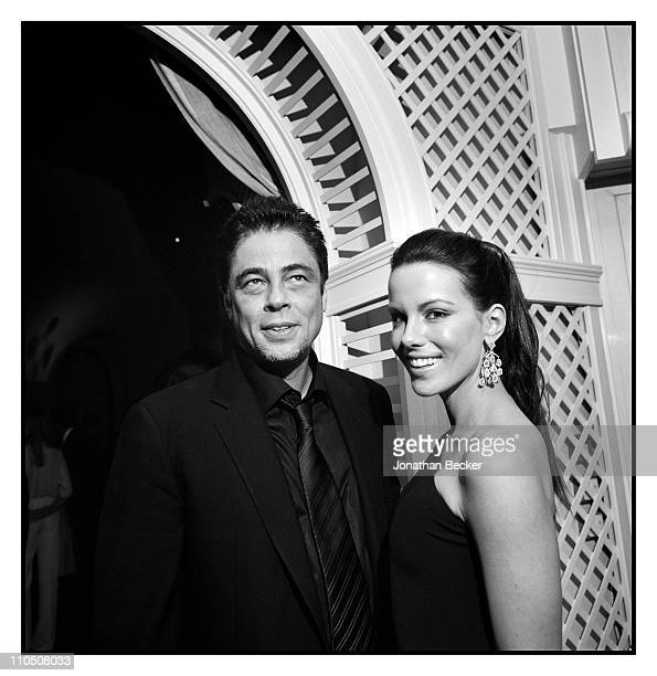 Actors Benicio Del Toro and Kate Beckinsale are photographed at Vanity Fair Cannes Party at the Eden Roc, Cap d'Antibes for Vanity Fair Magazine on...