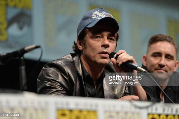 """Actors Benicio del Toro and Lee Pace speak at Marvel's """"Guardians Of The Galaxy"""" panel during Comic-Con International 2013 at San Diego Convention..."""